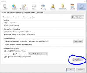 Change Default Browser in Thunderbird Client