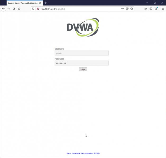 dvwa admin password