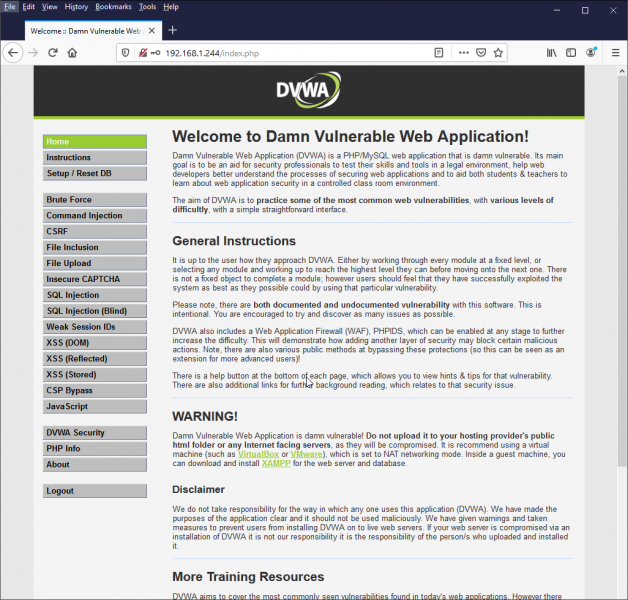 dvwa welcome screen