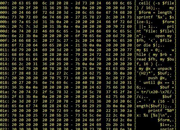 Perl Hex Dump