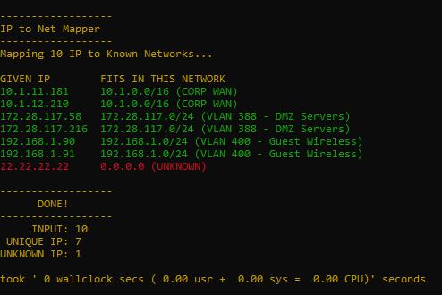 Perl Match IP List to Subnet List