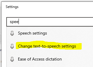 speech settings